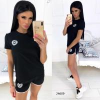 70bf18f6bf0 Женский спортивный костюм шорты и футболка с принтом 24609